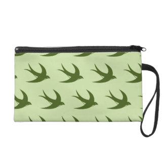 Flying Bird Pattern greens Wristlet Clutch