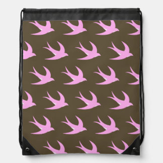 Flying Bird Pattern pink brown Drawstring Bags