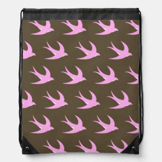 Flying Bird Pattern pink brown Drawstring Bags