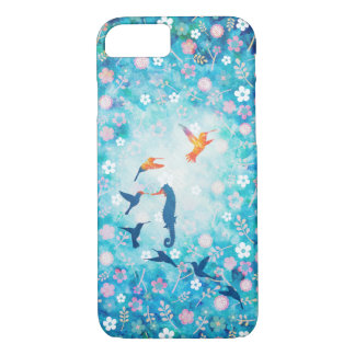 Flying bird,sea horse and flower pattern iPhone 7 case