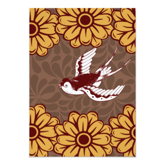 Flying Bird with Flowers Damask Pattern Card