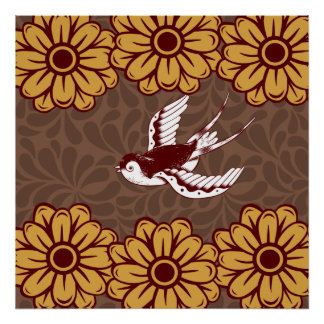 Flying Bird with Flowers Damask Pattern Print