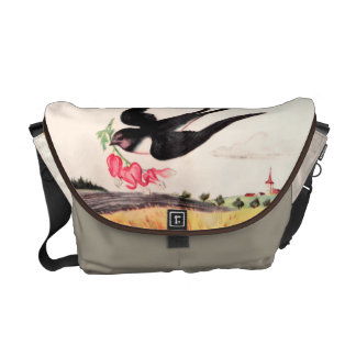 Flying Bird With Flowers Messenger Bags