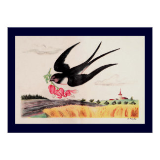 Flying Bird With Flowers Poster