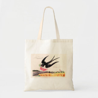 Flying Bird With Flowers Tote Bag