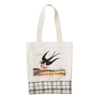 Flying Bird With Flowers Zazzle HEART Tote Bag