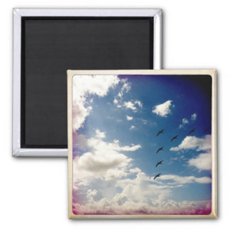 Flying Birds 2 Inch Square Magnet