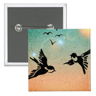 Flying Birds 2 Inch Square Button