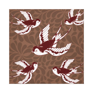 Flying Birds on Brown Damask Pattern Canvas Print
