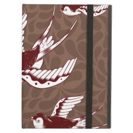 Flying Birds on Brown Damask Pattern iPad Folio Cases