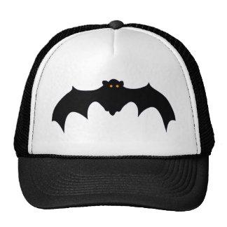 Flying Black Bat with Orange Eyes Mesh Hats