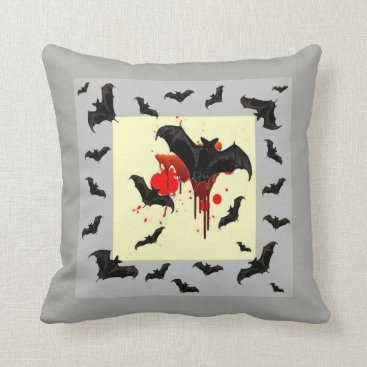 Halloween Themed FLYING BLACK BATS & HALLOWEEN BLOODY GREY ART THROW PILLOW