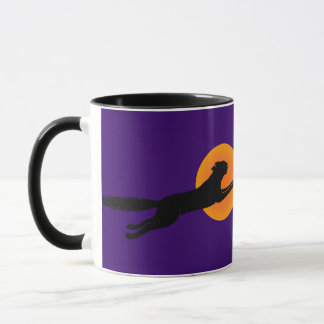 Flying Black Cat Vintage Art Coffee Mug