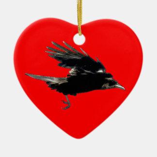 Flying Black Crow Art for Birdlovers Ceramic Ornament