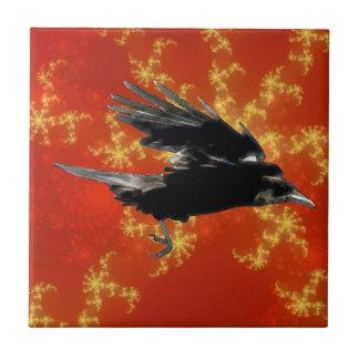 Flying Black Crow Art for Birdlovers Ceramic Tile