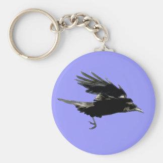 Flying Black Crow Art for Birdlovers Keychain