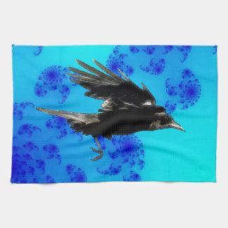Flying Black Crow Art for Birdlovers Towel
