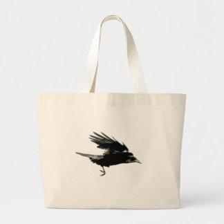 Flying Black Crow Art for Birdlovers Large Tote Bag