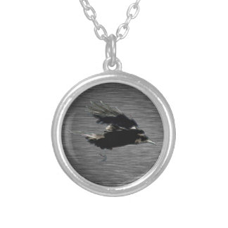 Flying Black Crow Art for Birdlovers Round Pendant Necklace