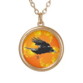 Flying Black Crow Art for Birdlovers Round Pendant Necklace