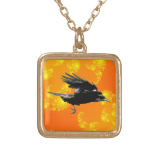 Flying Black Crow Art for Birdlovers Square Pendant Necklace