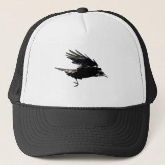 Flying Black Crow Art for Birdlovers Trucker Hat