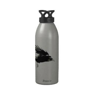Flying Black Crow Art for Birdlovers Reusable Water Bottles