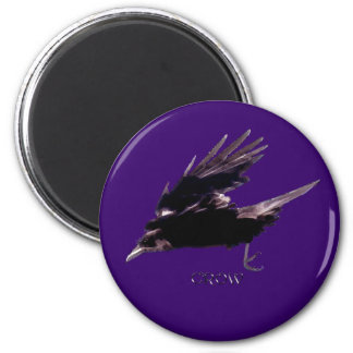 Flying Black Crow Wildlife Art Magnet