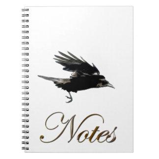 Flying Black Crow Wildlife Art Notebook
