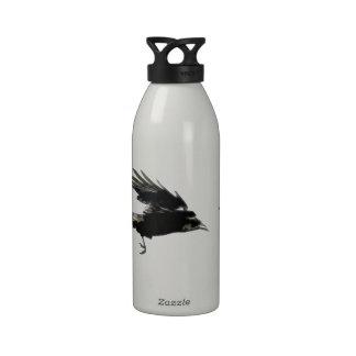 Flying Black Crow Wildlife Art Drinking Bottle