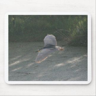 Flying Black-Crowned Night-Heron Mouse Pad