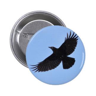 Flying Black Raven Corvid Crow-lover Photo Design Button