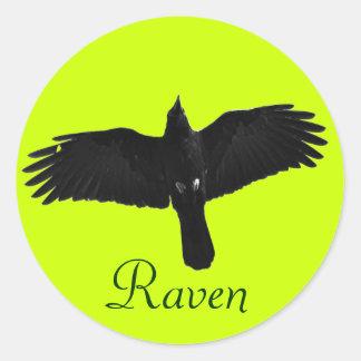 Flying Black Raven Corvid Crow-lover Photo Design Classic Round Sticker