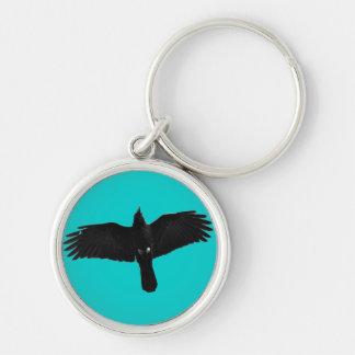 Flying Black Raven Corvid Crow-lover Photo Design Keychain