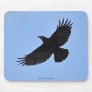Flying Black Raven Corvid Crow-lover Photo Design Mouse Pad