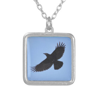 Flying Black Raven Corvid Crow-lover Photo Design Square Pendant Necklace