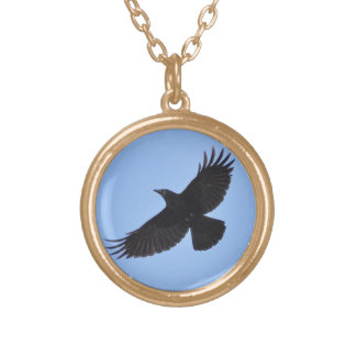 Flying Black Raven Corvid Crow-lover Photo Design Round Pendant Necklace