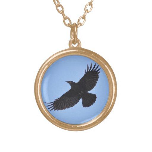 Flying Black Raven Corvid Crow-lover Photo Design Pendants