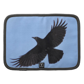 Flying Black Raven Corvid Crow-lover Photo Design Folio Planner