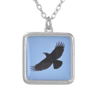 Flying Black Raven Corvid Crow-lover Photo Design Square Pendant Necklace