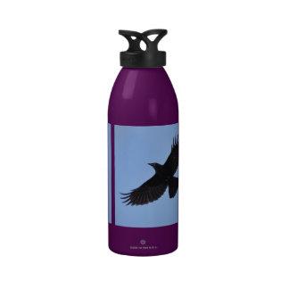 Flying Black Raven Corvid Crow-lover Photo Design Water Bottles