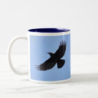 Flying Black Raven Corvid Crow-lover Photo Mug