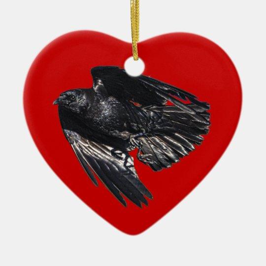 Flying Black Raven Crow-lover Photo Design 7 Ceramic Ornament