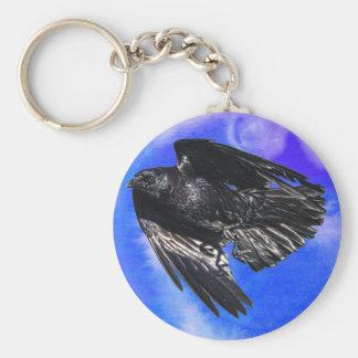 Flying Black Raven Crow-lover Photo Design 7 Keychain