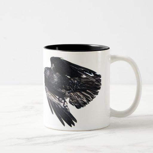 Flying Black Raven Crow-lover Photo Design 7 Two-Tone Coffee Mug
