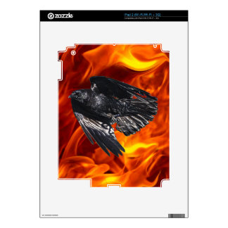 Flying Black Raven & Flames Photo Design 7 Decal For iPad 2