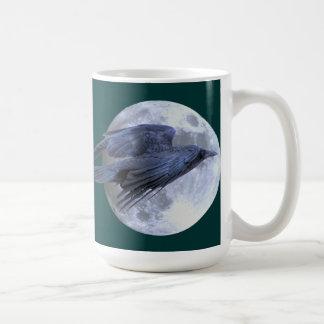 Flying Black Raven & Moon Celtic, Wiccan Coffee Mug