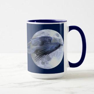 Flying Black Raven & Moon Goth Wildlife Design Mug