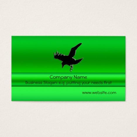 Flying Black Raven on green metallic-look effect
