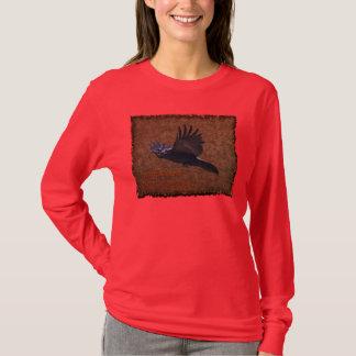 Flying Black Raven & Poem Wildlife Artwork Shirt